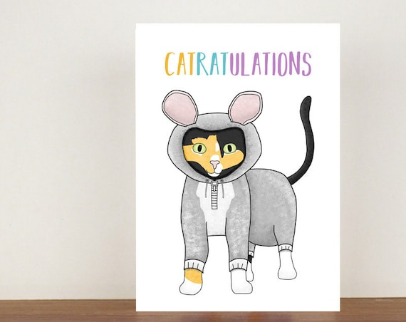 Catratulations, Card, Congratulations, Rat Card, Animal Card, Well Done Card, New Job Card, Achievement Card, Qualified, Cat Card