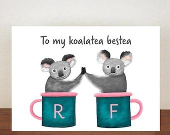 To My Koalatea Bestea Friend Card, Greeting Card, Best Friend Card, Friend Card, Koala, Koala Card, Thank You Card