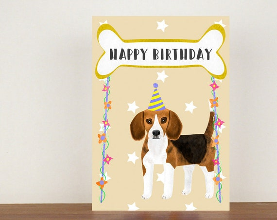 Beagle Happy Birthday, Card, Greeting Card, Birthday Card, Dog Card, Dog Birthday Card, Friend Birthday Card, Beagle, Beagle Card