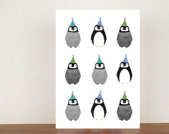 Penguin Birthday Card, Card, Birthday Card, Bird Card, Bird Birthday Card, Birthday, Friend Birthday Card, Greeting Card