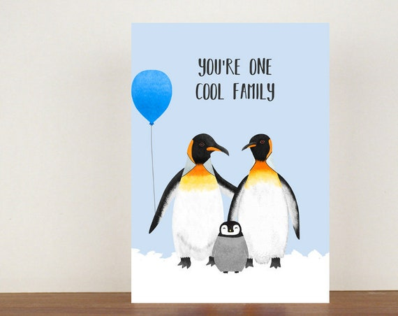 You're One Cool Family Card, Congratulations Card, Congratulations, Card, Its A Girl, Its A Boy, Penguin, Penguin Card