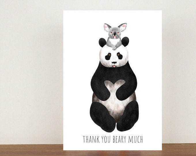 Thank You Beary Much Card, Thank You Card, Animal Card, Koala Card, Panda Card, A6 in size (approx 105 x 148mm), Includes Envelope