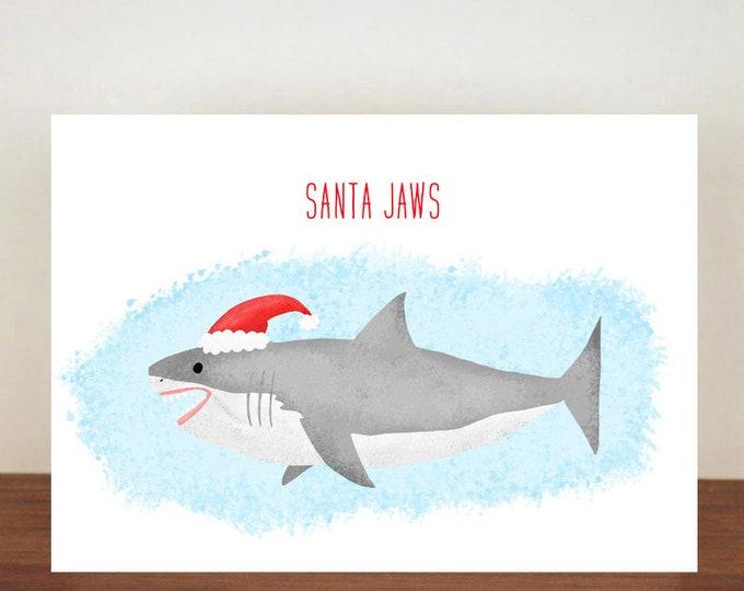 Santa Jaws Christmas Card, Christmas Cards, Greeting Cards, Christmas card, Shark, Shark Card, Shark Christmas Card, Animal Christmas Cards