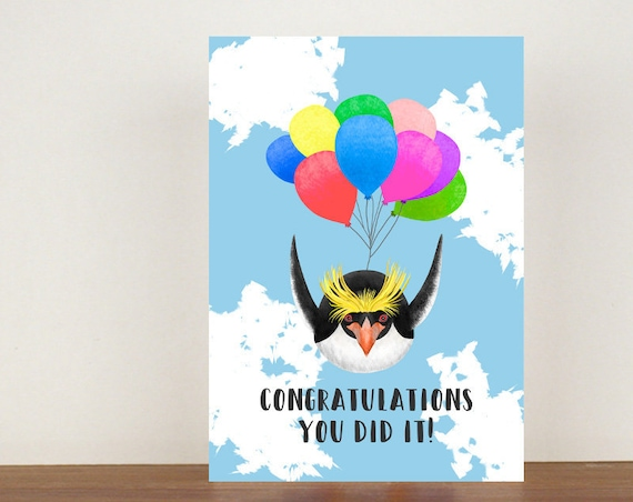 Congratulations You Did It Card, Congratulations, Penguin Card, Animal Card, Well Done Card, New Job Card, Achievement Card