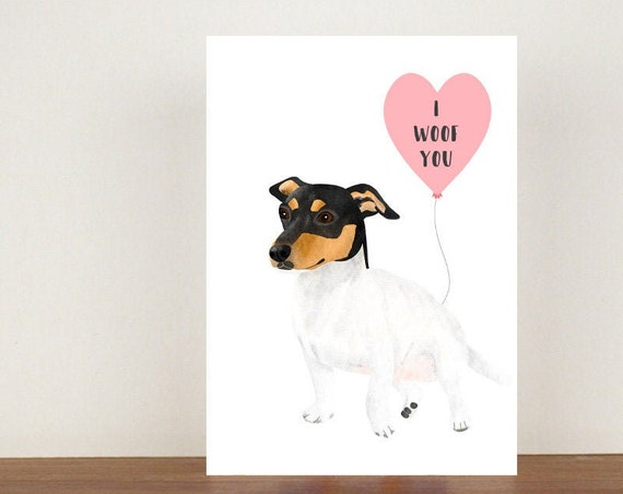 I Woof You Anniversary Card, Card, Greeting Card, Dog Card, Love Card, Valentines Day Card, Anniversary Card, Jack Russell Card