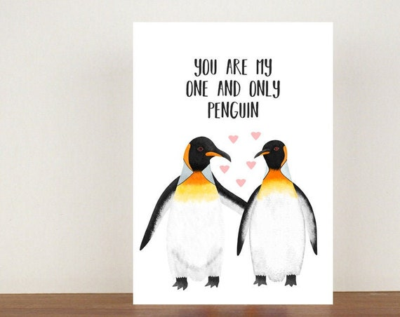 You Are My One And Only Penguin Anniversary Card, Greeting Cards, Love, Valentines Card, Penguin Card,  Love Card, Anniversary Card