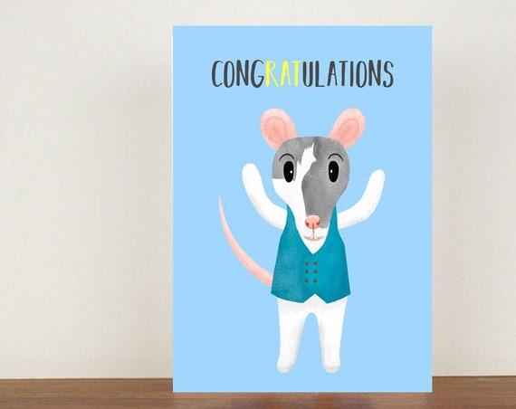 Congratulations Card, Rat Card, Animal Card, Well Done Card, New Job Card, Achievement Card, Qualified, Rat Card
