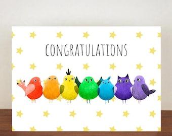 Congratulations Bird Card, Congratulations Card, Congratulations, Card, New Job Card