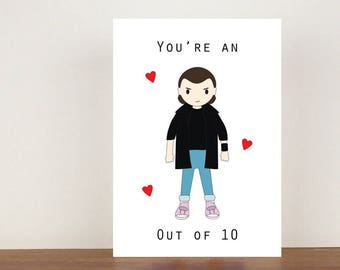 Your're an eleven out of 10 card, anniversary card, cards, greeting cards, love, valentines card, stranger things card