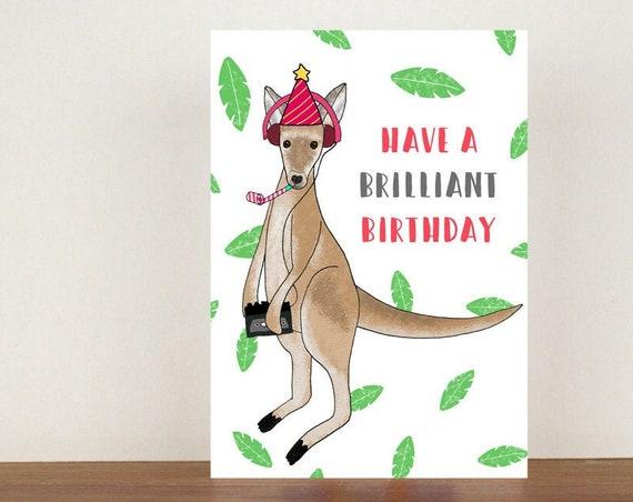 Have A Brilliant Birthday, Birthday Card, Card, Greeting Card, Kangaroo, Kangaroo Birthday Card