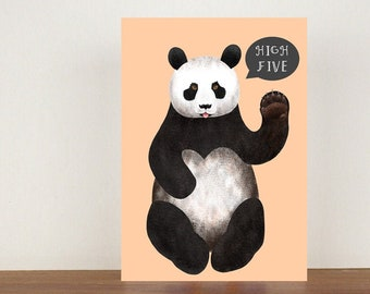 High Five, Card, Congratulations, Panda Card, Animal Card, Well Done Card, New Job Card, Achievement Card