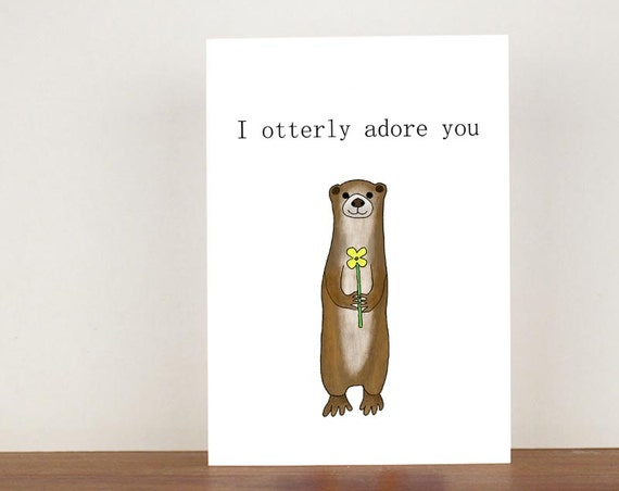I otterly adore you anniversary card, cards, greeting cards, love, valentines card, otter card, happy valentines day, love card, anniversary