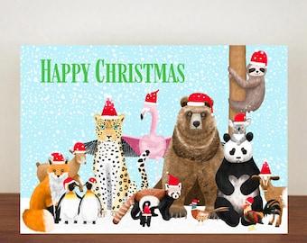 Animal Christmas Card,  Christmas Card, Greeting Cards, Christmas Card, Bear Christmas Card, Sloth Christmas Card, Penguin Christmas Card