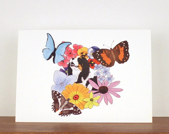 Dog greeting card, butterflies and flowers greeting card, birthday card, spaniel, flower card, birthday card, thank you card, dog art