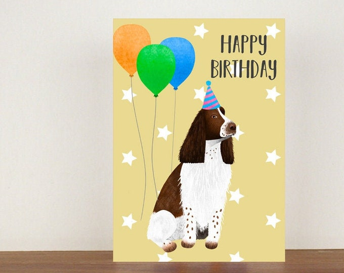 English Springer Spaniel Happy Birthday Card, Card, Greeting Card, Birthday Card, Dog Card, Dog Birthday Card, Friend Birthday Card