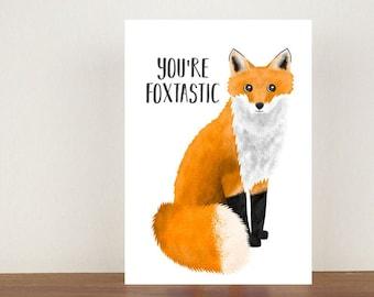 You're Foxtastic Card, Congratulations Card, Congratulations, Card, Fox, Fox Card, New Job, New Job Card, You're Fantastic Card