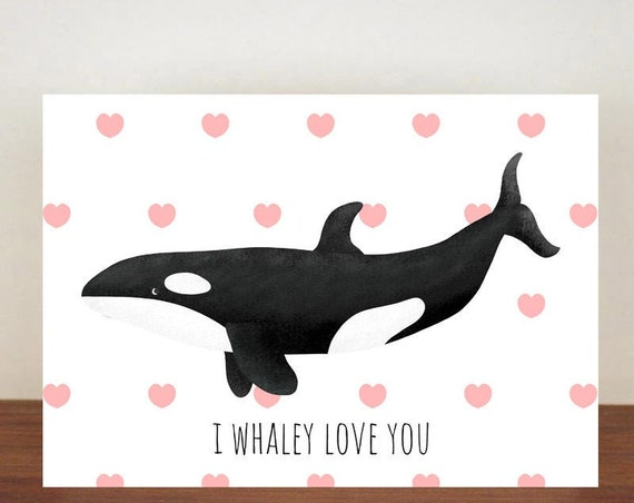 I Whaley Love You Anniversary Card, Orca Whale, Hearts, Love, Valentines Card, Whale Card, Happy Valentines Day, Love Card, Anniversary