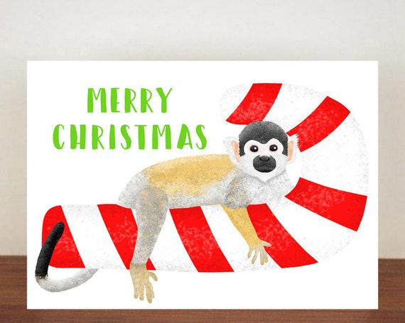 Merry Christmas Squirrel Monkey Christmas Card, Christmas Card, Squirrel Monkey Card, Merry Christmas, Animal Christmas Cards