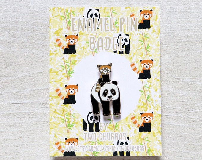 Panda Enamel Pin badge, Limited Hard Enamel Silver Plated Pin Badge, Panda Pin Badge, Panda Enamel Pin Badge, Pandas, Red Panda