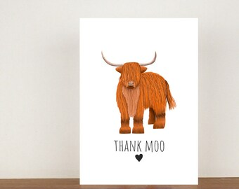 Thank Moo Card, Thank You Card, Animal Card, Thanks Card, Highland Card, Cow Card, A6 in size (approx 105 x 148mm), Includes Envelope