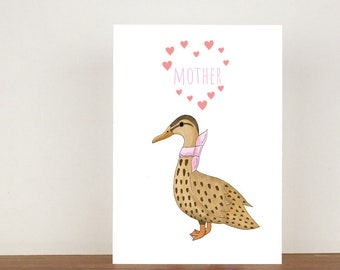 Mother Duck Card, Mothers Day Card, Mom Card, Duck Card