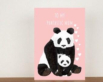 To My Pantastic Mum Card, Panda, Greeting Card, Animal Card, Panda Card, Blank Cards, Mothers Day Card, Thank You Card, Birthday Card