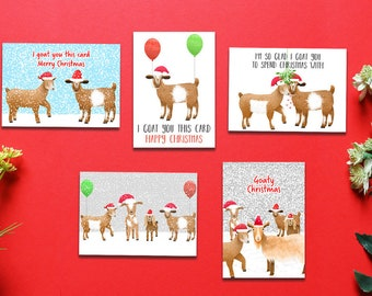 Goat Christmas Card Pack, Set Of 5, Bundle Pack, Christmas Cards, Animal Christmas Cards, Card Pack, Goat Christmas Cards