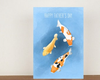 Koi Fish Happy Fathers Day Card, Greeting Card, Animal Card, Fathers Day Card, Fathers Day, Koi, Fish Card