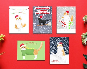 Cats Christmas Card Pack, Set Of 5, Bundle Pack, Christmas Cards, Animal Christmas Cards, Card Pack, Cat Christmas Cards
