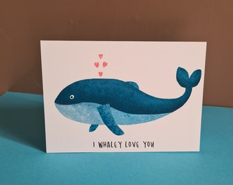 Whale Love Card, Anniversary Card, Misprint, Defect, As is, A6 in size (approx 105 x 148mm), Includes Envelope