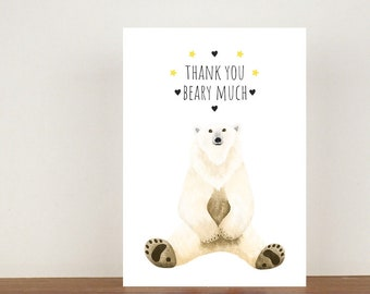 Thank You Beary Much Card, Thank You Card, Animal Card, Thanks Card, Polar Bear Card, A6 in size (approx 105 x 148mm), Includes Envelope