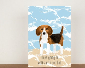 I Love Going On Walks With You Dad Card, Greeting Card, Animal Card, Fathers Day Card, Fathers Day, Beagle, Beagle Card