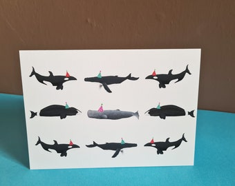 Whale Birthday Card, Birthday Card, Misprint, Defect, As is, A6 in size (approx 105 x 148mm), Includes Envelope
