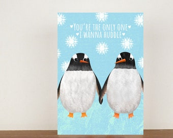 You're The Only One I Wanna Huddle Card, Greeting Cards, Love, Valentines Card, Penguin Card, Happy Valentines Day, Love Card, Anniversary