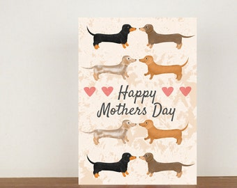 Dog Happy Mothers Day Card, Mothers Day Card, Dog Card, Dachshund