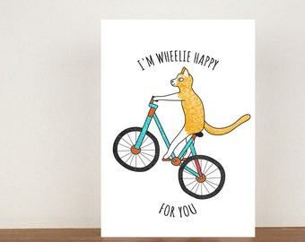 I'm Wheelie Happy For You Card, Congratulations Card, Animal Card, Well Done Card, New Job Card, Achievement Card, Qualified, Cat Card