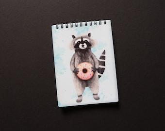 Raccoon A6 Notebook, Defect, As is, Plain Notebook, Spiral A6 Notebook, Animal Notebook