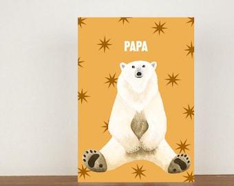 Papa Bear Card, Greeting Card, Animal Card, Fathers Day Card, Fathers Day, Bear, Bear Card, Polar Bear, Polar Bear Card
