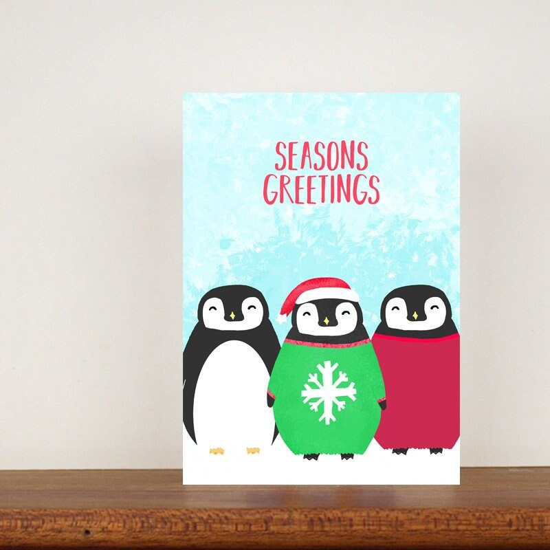 Penguin Christmas Card Christmas Cards Greeting Cards | Etsy