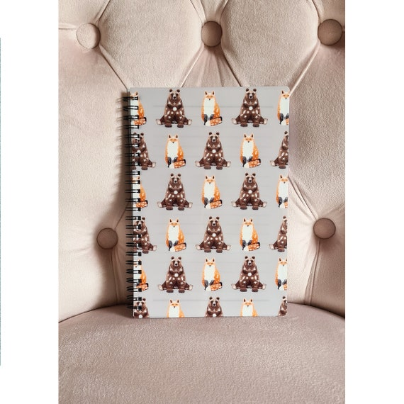 Fox & Bear Notebook, DEFECT,      Lined Notebook, Spiral A5 Notebook, Animal Notebook,