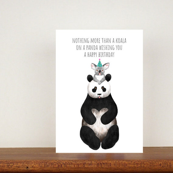 Nothing More Than A Koala On A Panda Wishing You A Happy Birthday Card, Card, Birthday Card, Panda Birthday Card, Funny Cards, Koala