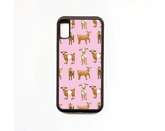 Goat Phone Case, Pink, Goat iphone Case, Animal Phone Case, Rubber Phone Case, Personalised Phone Case