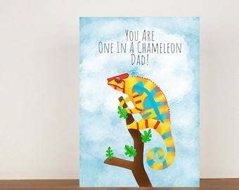 You Are One In A Chameleon Dad Card, Greeting Card, Animal Card, Fathers Day Card, Fathers Day, Lizard Card, Chameleon Card