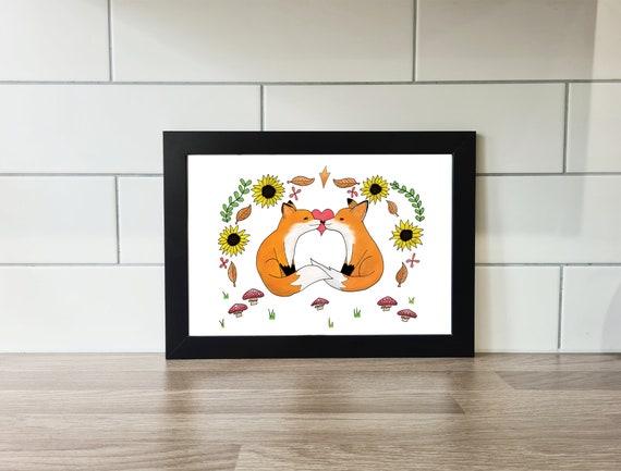 Cute Love Foxes Art Print, A4 Print, A3 Print, Wall Art, Wall Decor, Foxes, Fox, Illustration, Art Print by Rachel Gwen May