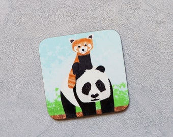 Red Panda & Panda Coaster, Coaster, Drinks Coaster, Gifts for him, Gifts for her, Birthday Present, House Warming Present, Animal Coasters
