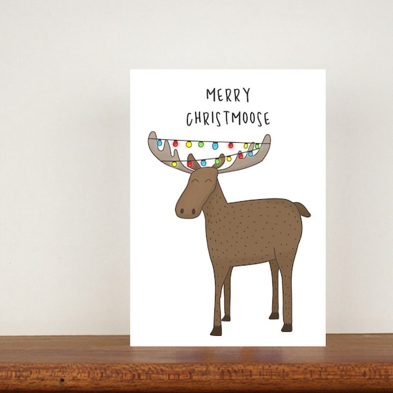 Merry Christmoose Christmas Card, Moose cards, Greeting Cards, Christmas Card, Moose, Christmas card, Animal Christmas Cards