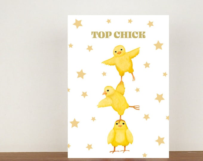 Top Chick Card, Greeting Card, Best Friend Card, Friend Card, Thank You Card, Chicken