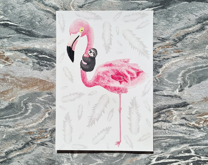 Flamingo & Sloth Print, Print, Misprint, Seconds, As Is, Reduced Price