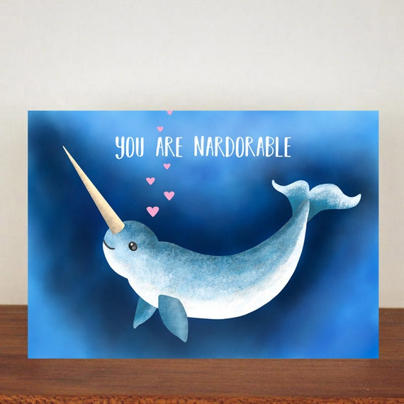 You Are Nardorable Anniversary Card, Greeting Cards, Love, Valentines Card, Narwhal Card, Happy Valentines Day, Love Card, Anniversary