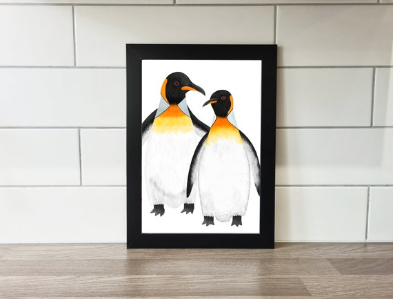 King Penguin Print, Penguin Print, Wall Art, A4 Print, A3 Print, Wall Decor, Illustration, Art Print by Rachel Gwen May
